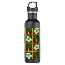 Hawaiian Hibiscus And Palm Pattern Water Bottle
