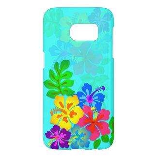 Hawaiian Hibiscus Aqua Blue Samsung S7 Samsung Galaxy S7 Case