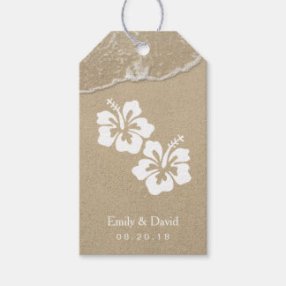 hawaiian hibiscus beach wedding gift tags