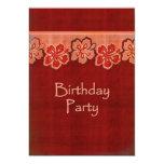 Hawaiian Hibiscus Birthday Party 5x7 Paper Invitation Card