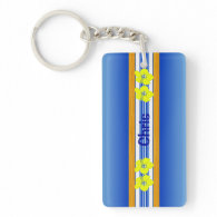Hawaiian Hibiscus Blue Surfboard Acrylic Key Chain