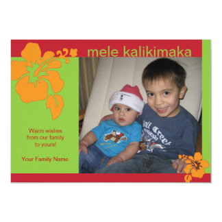 Hawaiian Hibiscus Christmas Holiday Photo Card Custom Invitation