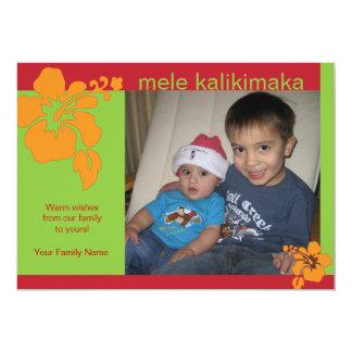 Hawaiian Hibiscus Christmas Holiday Photo Card Invitations