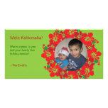 Hawaiian Hibiscus Christmas Wreath Photo Card