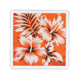 Hawaiian Hibiscus Flower Background Acrylic Tray