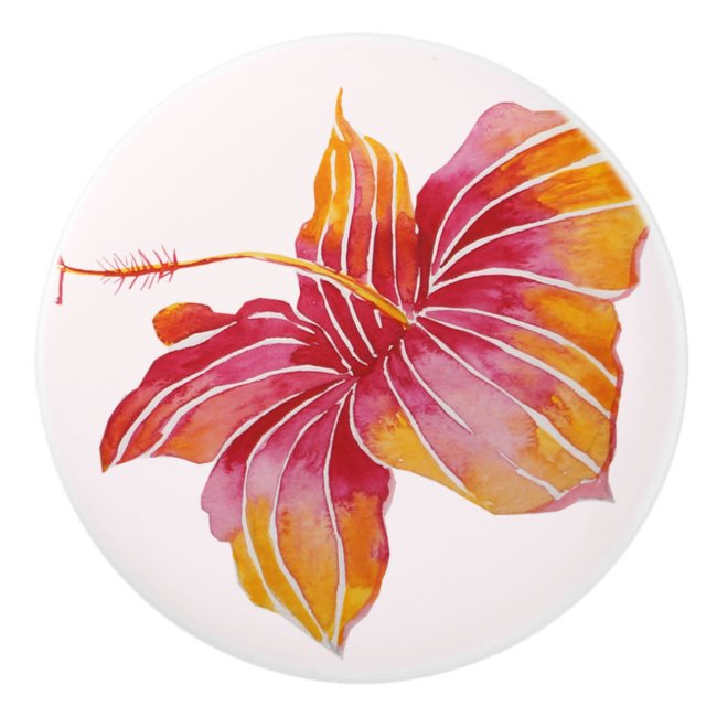Hawaiian Hibiscus Flower Custom Ceramic Knob