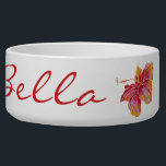 "Hawaiian Hibiscus Flower Large Pet Bowl<br><div class=""desc"">NewparkLane - Elegant colorful Pet Bowl, with an exotic Hawaiian Hibiscus flower in red, pink and orange. With a soft pink background and &#39;Aloha!&#39; in fun red script typography. Your pet&#39;s name, in elegant typography, is easy to customize in Zazzle for a personalized design. All text style, colors, sizes can...</div>"