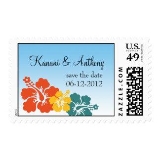 Hawaiian hibiscus flower orange save the date stamp