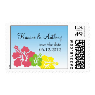 Hawaiian hibiscus flower preppy pink save the date postage