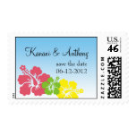 Hawaiian hibiscus flower preppy pink save the date postage stamps