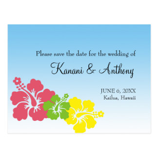 Hawaiian hibiscus flower preppy pink save the date postcard