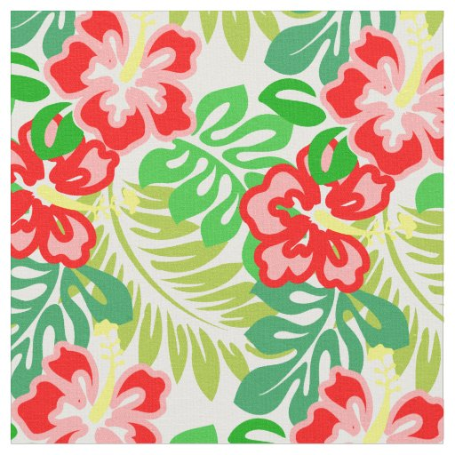 Hawaiian Hibiscus Flower Print Fabric Zazzle Com