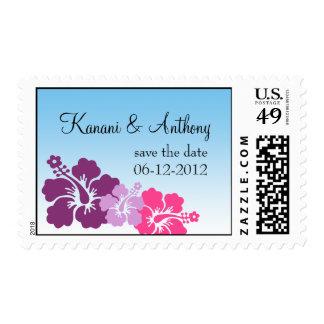 Hawaiian hibiscus flower purple save the date postage stamp