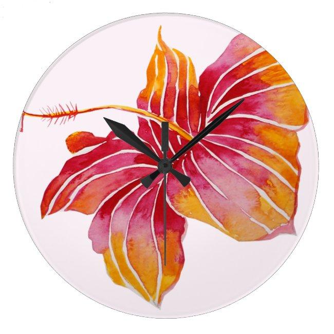 Hawaiian Hibiscus Flower Round (Large) Wall Clock