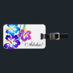 """Hawaiian Hibiscus Flowers Aloha Luggage Tag<br><div class=""""desc"""">Beautiful and fanciful hibiscus flowers in a rainbow of colors. The hibiscus is native to Hawaii and &quot;Aloha&quot; means &quot;hello&quot; and &quot;goodbye&quot; in Hawaiian. You can change the &quot;Aloha&quot; to say anything you like. BE SURE TO CHANGE THE PERSONAL INFORMATION TEXT ON THE BACK to something appropriate for you!</div>"""