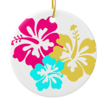 Hawaiian Hibiscus Flowers Ceramic Ornament
