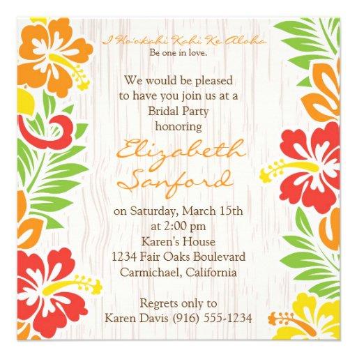 Hawaiian Hibiscus Flowers Invitation