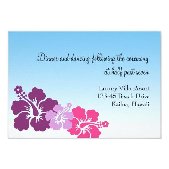 Hawaiian hibiscus flowers purple wedding enclosure card