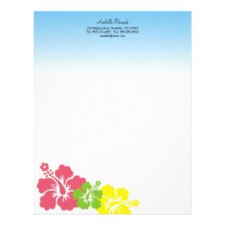 Hawaiian hibiscus flowers tropical pink summer letterhead