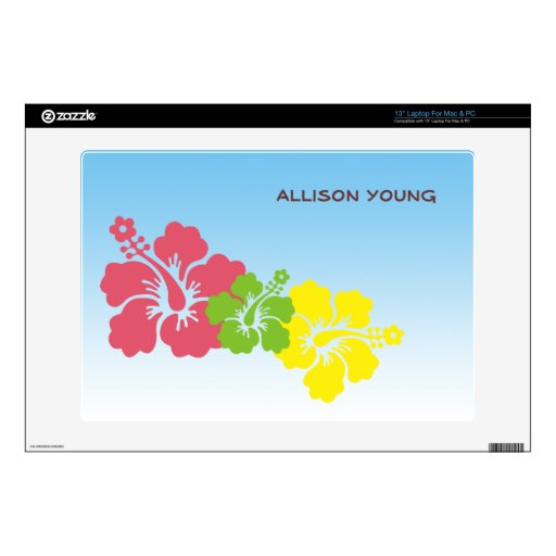 Hawaiian hibiscus flowers tropical preppy pink laptop skins