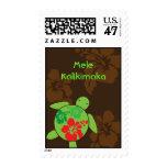 Hawaiian Hibiscus Happy Honu Christmas Stamp