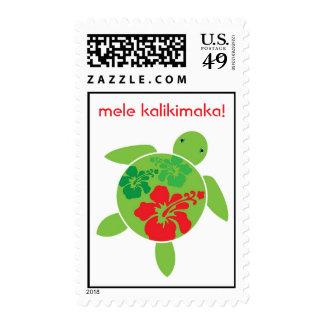 Hawaiian Hibiscus Holiday Honu Christmas Stamp