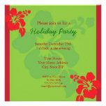 Hawaiian Hibiscus Holiday Party Invitation