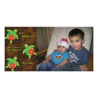 Hawaiian Hibiscus Honu Holiday Photo Card