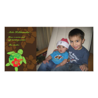 Hawaiian Hibiscus Large Honu Holiday Photo Card