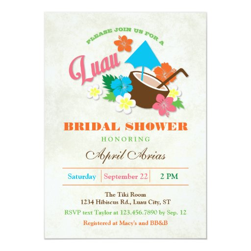 Hawaiian Hibiscus Luau Bridal Shower Invitation