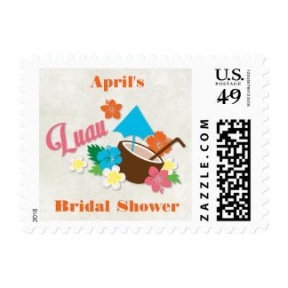 Hawaiian Hibiscus Luau Bridal Shower Postage