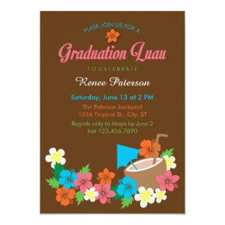"Hawaiian Hibiscus Luau Graduation Invitation 5"" X 7"" Invitation Card"