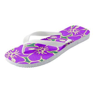Hawaiian Hibiscus Luau Purple Tropical Flowers Flip Flops