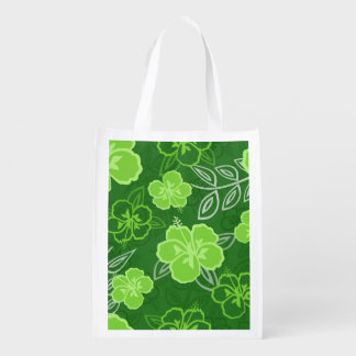 Hawaiian Hibiscus Pattern Green Reusable Grocery Bag