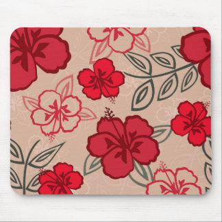 Hawaiian Hibiscus Pattern Red Mouse Pad