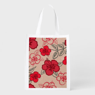 Hawaiian Hibiscus Pattern Red Reusable Grocery Bag