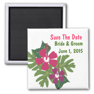Hawaiian Hibiscus Pink Save The Date Magnet