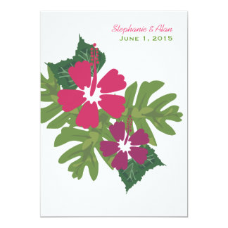 """Hawaiian Hibiscus Pink Wedding Invitation 5"""" X 7"""" Invitation Card"""