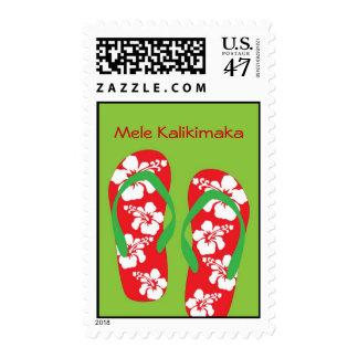 Hawaiian Hibiscus Slippers Holiday Stamp