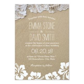Hawaiian Hibiscus Summer Beach Destination Wedding 5x7 Paper Invitation Card