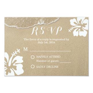 Hawaiian Hibiscus Summer Beach Wedding RSVP Card