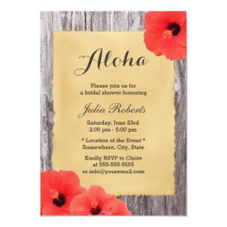 Hawaiian Hibiscus Wood Bridal Shower 5x7 Paper Invitation Card