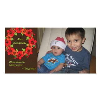 Hawaiian Hibiscus Wreath Holiday Photo Card