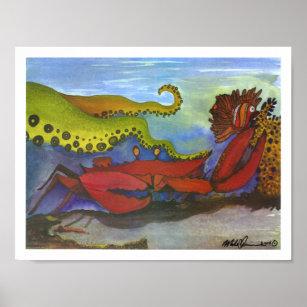 Hawaiian Holiday Watercolor Fish Art Poster