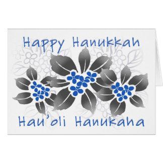 Hawaiian Holly Hanukkah Blue Floral Card