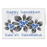 Hawaiian Holly Hanukkah Blue Floral Greeting Card