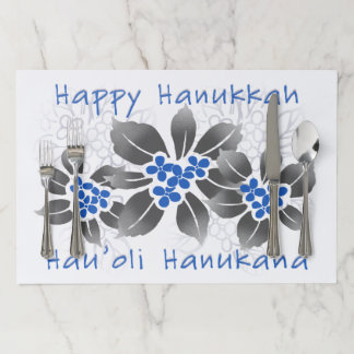 Hawaiian Holly Hanukkah Blue Floral Paper Placemat
