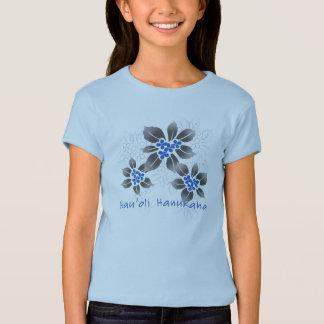Hawaiian Holly Hanukkah Blue Floral T-Shirt