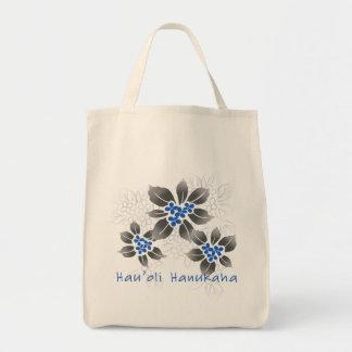 Hawaiian Holly Hanukkah Blue Floral Tote Bag