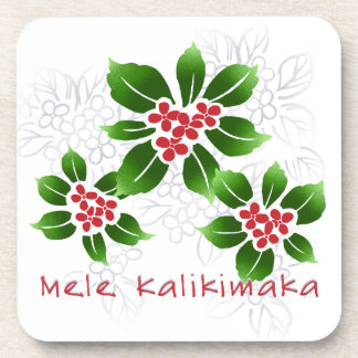 Hawaiian Holly Mele Kalikimaka Christmas Red Coaster
